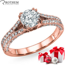 Mothers Day Gift Diamond Ring 1.41 Ct D Si2 14k Rose Gold 05452209