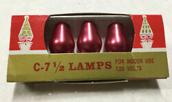 Four Vintage Pink Christmas Bulbs C-7 1/2 Made In The Usa 1 Red Bulb