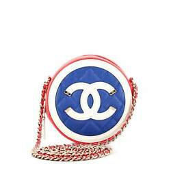 Filigree Round Clutch With Chain Quilted Caviar Mini
