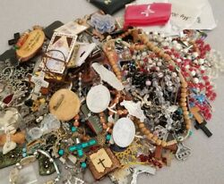 Nearly 6 Pounds Jewelry Cross Lot Rosaries Medals Unsorted Religious Christian