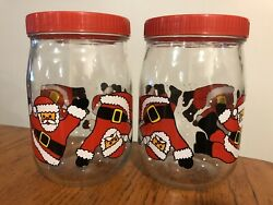 Vtg Lot 2 Christmas Glass Canister Candy Cookie Jars Tumbling Santa Made France