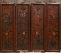 100cm Huge Wood Lacquerware Dynasty Palace Dragon Loong Folding Screen Full Set