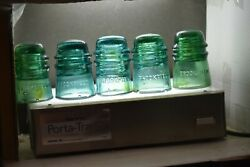Brookfield Cd 121 Glass Insulator 10 Dome Embossed Aqua W/ Amber And 4 More Sale