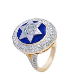 14k Gold Women Star Of David Ring With 113 Diamonds And Blue Enamel Judaica Gift