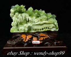 13 Chinese Natural Xiu Jade Carving Mountain Pavilion House Ornaments