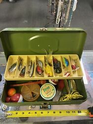 Old Pal Vintage Metal Fish Fishing Tackle Handle Box Filled With Old Tackle