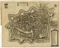 Antique Map Of The City Of Leeuwarden By Leti 1690