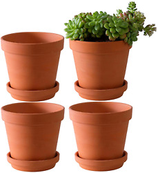 Large Terra Cotta Pots With Saucer- 4 Pack Large 6'' Terra Cotta Plant Pot With