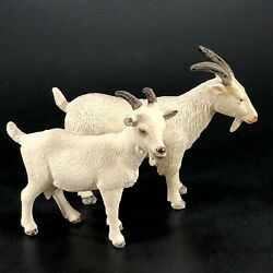 2ct Billy Goat White Animal Figure Educational Toy 1 Mojo 1 Schleich 2.75 To 3