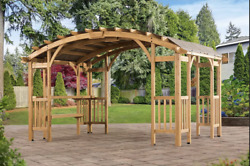 14and039 X 10and039 Cedar Wood Pergola With Fabric Shade Roof