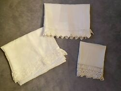 Antique Cotton Lace Table Or Bed Runners For Repurpose Project Fabric 3 Pieces