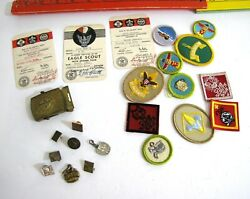 1950s Scout Lot Eagle Cub Wolf Bobcat 23 Pins Signed Cards Patches Buckle Charms