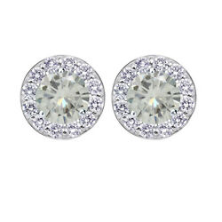10k White Gold 3.5 Ct Genuine Moissanite Halo Stud Earrings With Screw Back