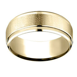 10k Yellow Gold 7.00 Mm Comfort-fit Menand039s Wedding Band Ring Sz-13