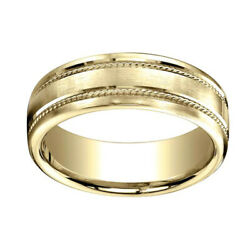 7.5mm Comfort Fit Satin Finish Rope Carved 18k Yellow Gold Band Ring Sz 12