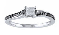 1/5 Ct Black And Natural Diamond Vintage Style Engagement Ring In 10k White Gold