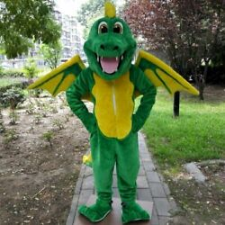Green Dragon Mascot Costumes Cartoon Birthday Party Christmas Easter Adults New