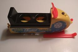 Vintage 1970 Fisher Price Little People Mini Snowmobile With Black Rudders 705