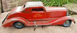 Vintage Marx Girard Siren Fire Chief Wind Up Pressed Steel Toy Car 14andrdquo Works