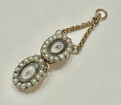 Antique Georgian Double Lovers Eye Pearl Masquerade Mask Pendant 14ct Gold
