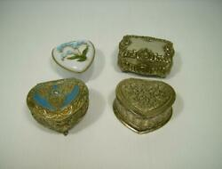Vintage Lot Of 4 Small Metal Silver Tone Footed Trinket Dresser Boxes Japan