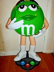 Green Mandm's Candy Character Collectible Large Store Display 39 Rare On Wheels.