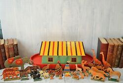 Antique German Noahand039s Ark Toy On Wheels Wooden 32 Animals Noah And Wife