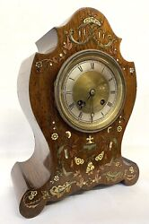 Antique Rosewood Intricatly Inlaid Mantel Clock By Bannister And Stephenson Paris