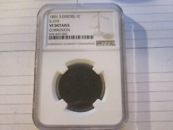 1801 S-219 R-2 3 Error Reverse Draped Bust Large Cent Ngc Very Fine Details