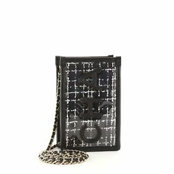 Logo Phone Clutch With Chain Pvc Over Quilted Tweed