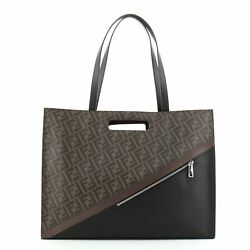 Fendi Forever Fendi Shopping Tote Zucca Coated Canvas And Leather Large