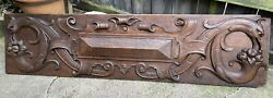 Antique English Carved Oak Griffins Panel Wall Plaque Architectural Furniture