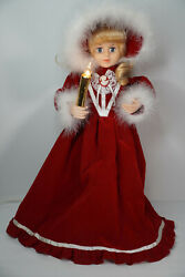 Vintage Telco Motionettes Of Christmas Victorian Lady Girl Caroler Rare