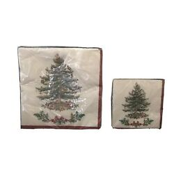 Spode Christmas Garland Tree Paper Napkins Set Dinner And Beverage 40 Count 2006