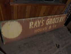 Large Vintage Atlanta Ray's Grocery Store Sign 8ft Wide And 24 Inches Tall.