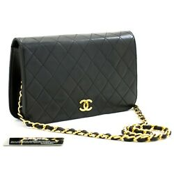 B30 Authentic Full Flap Chain Shoulder Bag Clutch Black Quilted Lambskin