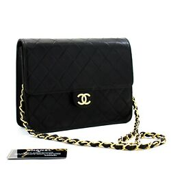 D22 Authentic Small Chain Shoulder Bag Clutch Black Quilted Flap Lambskin
