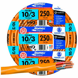 Romex Simpull And174 Cable With Ground, Orange, 10/3 Awg, 250 Ft