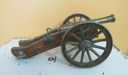 Vintage Napoleon Wood And Metal Cannon 11 1/2 Inches Long
