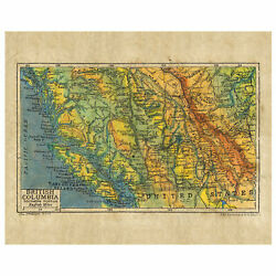 British Columbia 1906 Antique Map Unframed Art Print Poster Wall Home Decoration