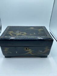 Vintage Japanese Black Lacquer Music Jewelry Box With Dancin Ggeisha Girl