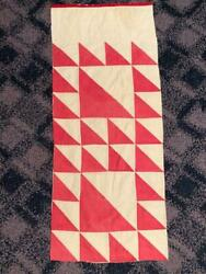 Antique Lady Of The Lake Farmhouse Cutter Quilt Piece Red White 14 X 35 1