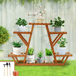Wood Plants Stand Indoor Outdoor Carbonized Triangle 6 Tiered Corner Plant Rack