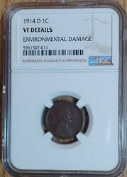 1914d Lincoln Cent Wheat Penny Vf Details Enviro Damage - Ngc Graded Key Date