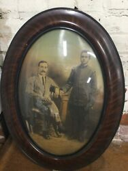 Antique Oval Convex Bubble Glass Tiger Wood Picture Frame With Soldier