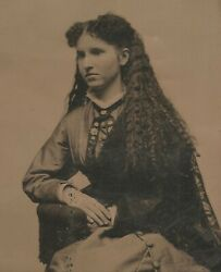 Vintage Antique Tintype Photo Beautiful Young Lady W/ Long Frizzy Permed Hair