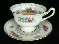 Shelley Crochet Cup And Saucer 13302 Footed Gainsborough Shape Gold Trim England
