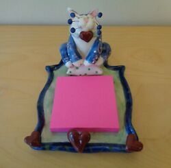 Whimsiclay Cat By Amy Lacombe Memo Pad Holder Hearts Note Post It 2001 New