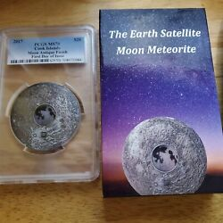 2017 Pcgs Ms70 Moon Meteorite First Day Of Issue 3oz Silver Coin Pop. 96