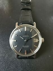 Vintage Omega Seamaster De Ville Automatic Date Black Dial Stainless Steel Watch
